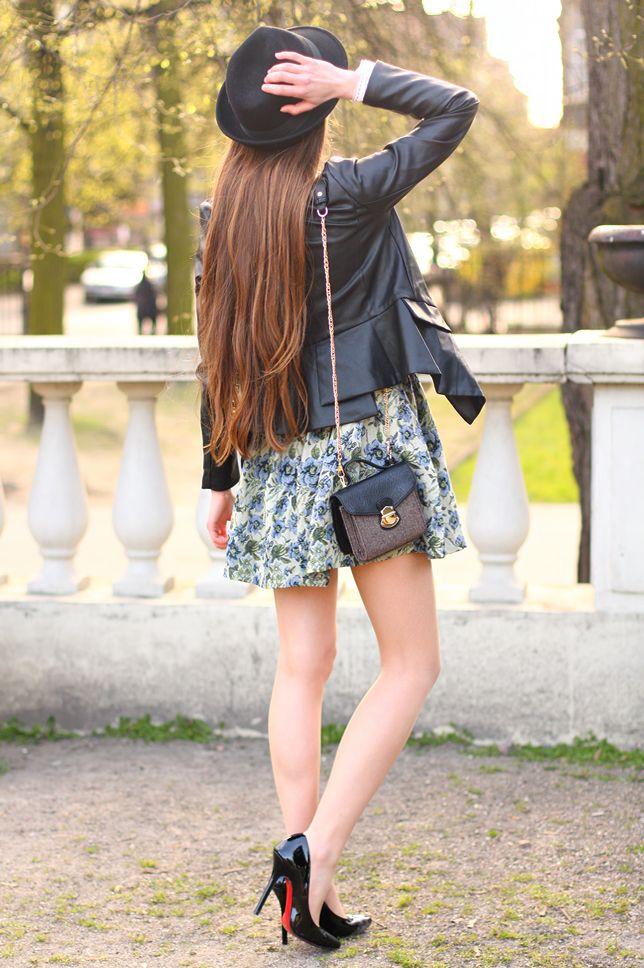 Skorzana Kurtka Niebiesko Zielona Sukienka W Kwiaty I Czarny Kapelusz Ari Maj Personal Blog By Ariadna Majewska Fashion Style Dresses