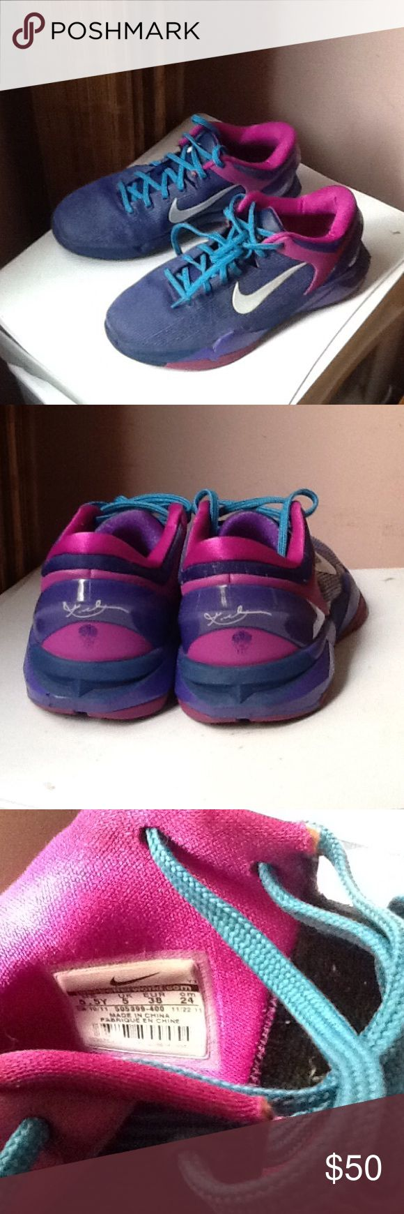 Nike Kobe 7 Sneakers Never worn brand new Nike Kobe 7 sneakers. Smoke-free home.  No box. Size: Youth 5.5 will fit woman size 7.5. Nike Shoes Sneakers