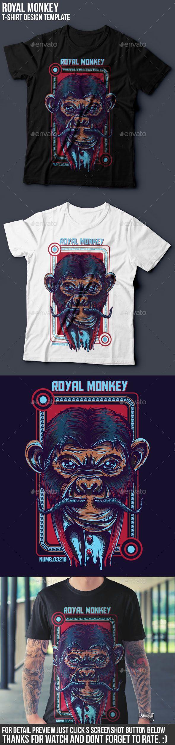 Design t shirt online template - Royal Monkey T Shirt Design
