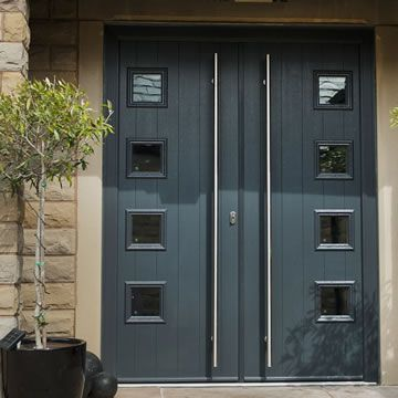 A black composite double door