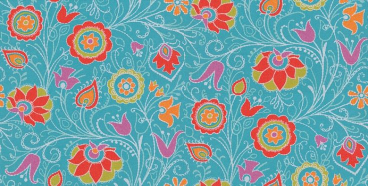 Suzani (314023) - Eijffinger Wallpapers - A stylised patterned floral trail with a coloured design over a shadow one, with stitch effect. Shown here in rich turquoise blue, with orange, pink and green. Paste the wall. Please request a sample for true colour match.