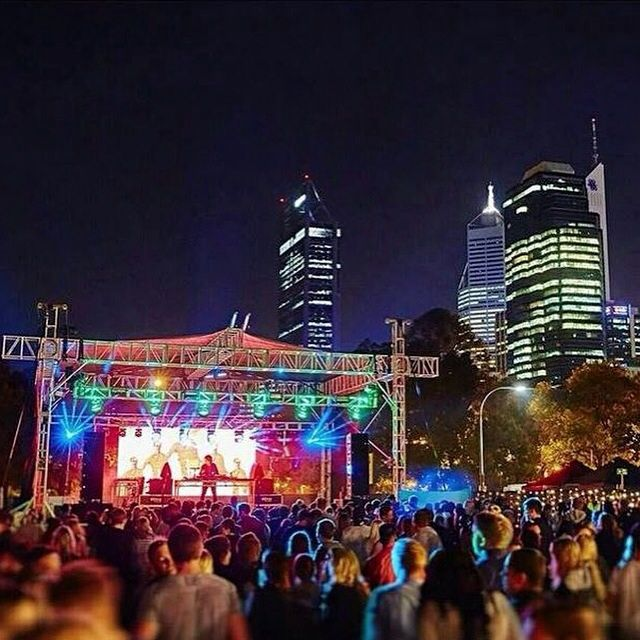 Perth is home to many great music festivals.  The Sets In The City music festival lights up Riverside Drive.