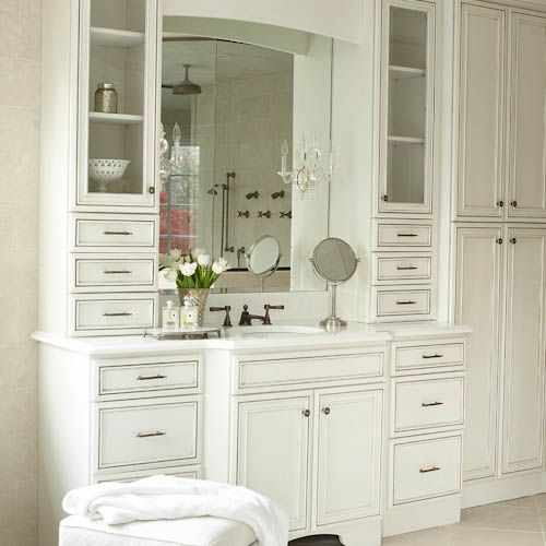 Custom vanity with 2 towers and drawers vanity solutions for Custom bathroom vanity cabinets