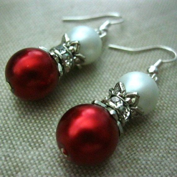 Pearl Christmas Earrings Red White Crystal by RazielaDesigns, $9.00