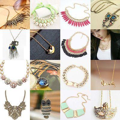 Hot Fashion Jewelry Pendant Chain Crystal Choker Chunky Statement Bib Necklace