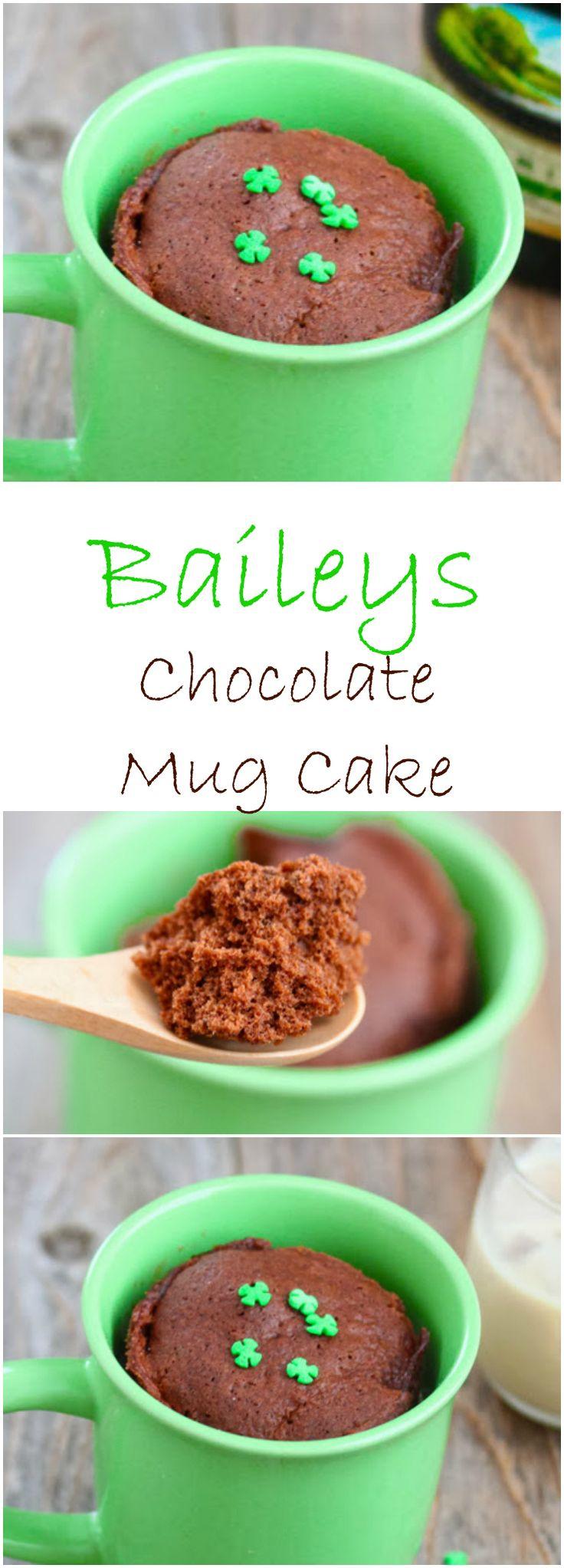 Baileys Chocolate Mug Cake. Perfect for St. Patrick's Day!