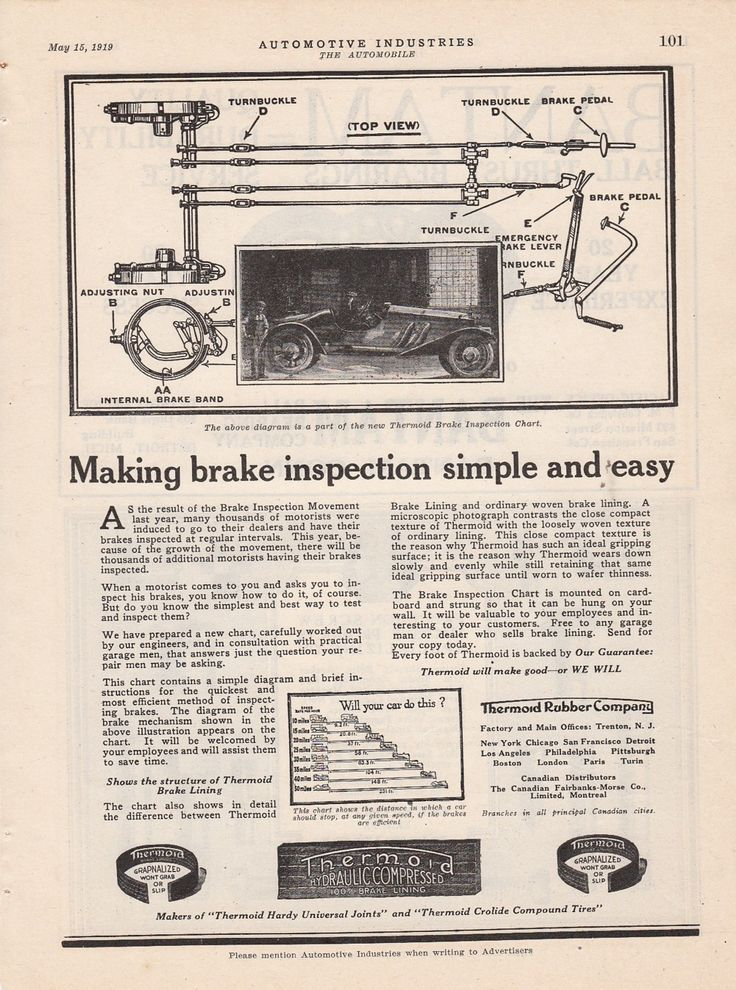 1919 Thermond Rubber Co Trenton NJ Ad Brake Inspection Chart Simple and Easy   eBay