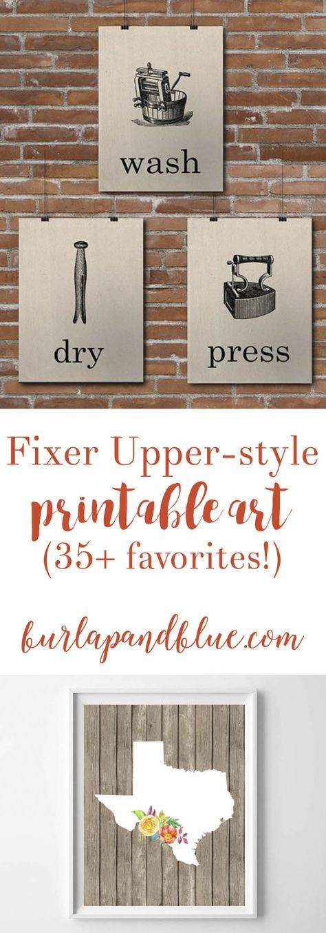 LOTS of rustic, farmhouse, Fixer Upper style free printables! Includes living room, kitchen room and laundry room printable art.
