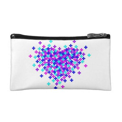 DIGITAL HEART EXPLOSION SMALL COSMETIC BAG - heart gifts love hearts special diy