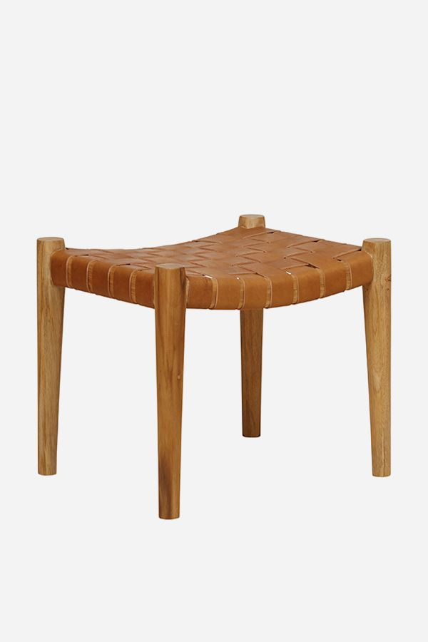 Leather Footstool, Strapping - Teak & Tan