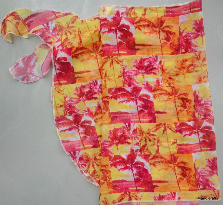 Beach Scarf Tie Wrap Skirt CoverUp Bikinis To Go Canada Nylon Palm Tree One Size #BikinisToGo #BeachSkirt #WrapCoverUp #Beach