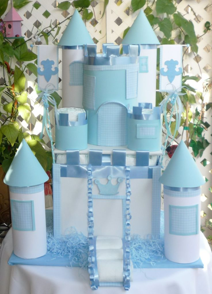 Baby Boy Gifts Newcastle : Baby boy diaper castle filled with pamper s size