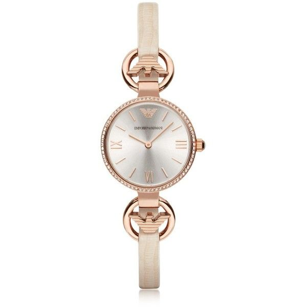 Emporio Armani Women's Watches Rose Gold-tone Eagle Women's Watch... ($385) ❤ liked on Polyvore featuring jewelry, watches, pink, women's watches, nude jewelry, silver jewelry, silver dial watches, dial watches and pink jewelry