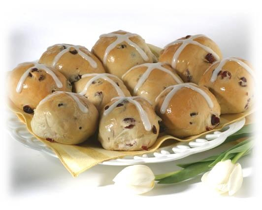 Good Friday is April 6th.  Hot Cross Buns Day coincides, not by accident, but by design.  Try Cranberry Hot Cross Buns made from Rhodes frozen bread dough.  Tasty and not too sweet.
