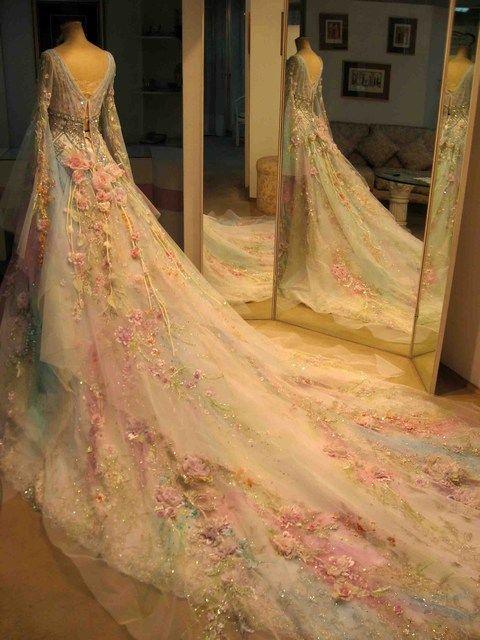 Blank Matragi, Czech designer - Wedding dress, pastel floral with a very long train.