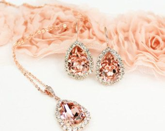 Blush Pink Bridal Earrings Pink Bridesmaid by LilykayCouture