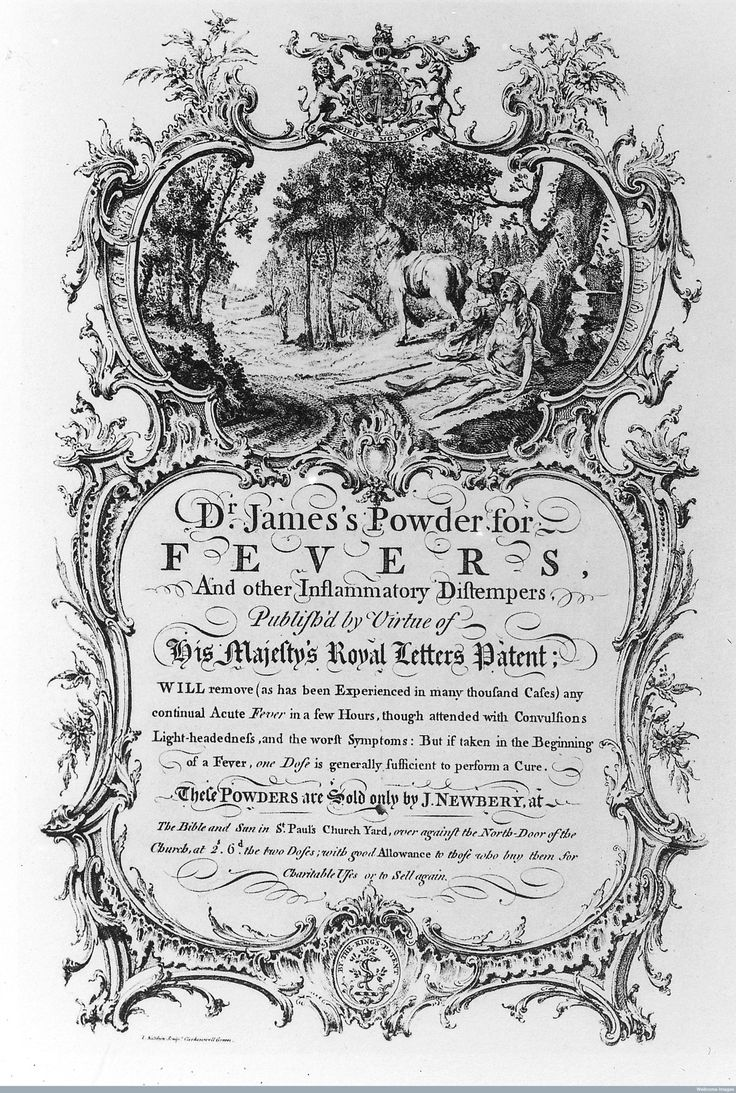 M0015903 'Dr. James's Powder for Fevers' Credit: Wellcome Library, London. Wellcome Images images@wellcome.ac.uk http://wellcomeimages.org 'Dr. Jame's Powder for Fevers': Trade card advertising Dr Jame's powder for fevers sold by J. Newberry at the Bible and Sun, St Paul's Church Yard. 18th Century London Tradesmen's cards of the 18th century Ambrose Heal Published: 1925 Copyrighted work available under Creative Commons Attribution only licence CC BY 4.0…