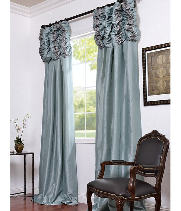 valance curtains for bedroom get robins egg embroidered ruched faux silk taffeta 17682