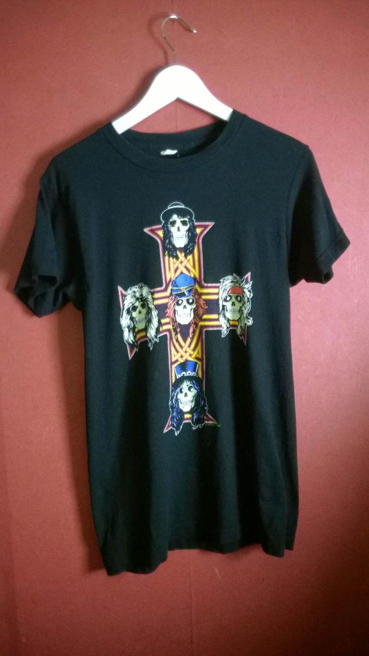 SOLD Vintage Band t shirt Black Gun 'n Roses t shirt VINTAGE  BANDTSHIRT  Black BAnd t Shirt Guns and Roses  m by VirtageVintage on Etsy