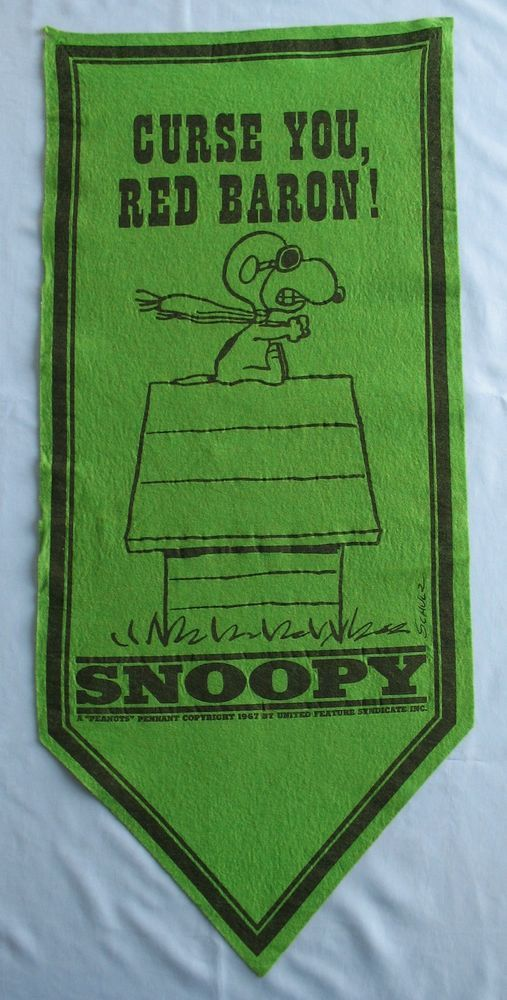 Vtg. 1967 Charles Schulz Peanuts SNOOPY Felt Pennant Banner Curse You Red Baron! #UnitedFeatureSyndicateInc