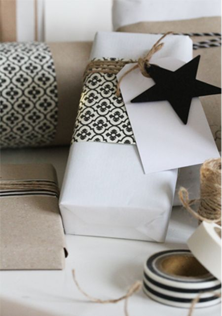 conserve resources by wrapping presents in white craft paper with wrapping paper highlights