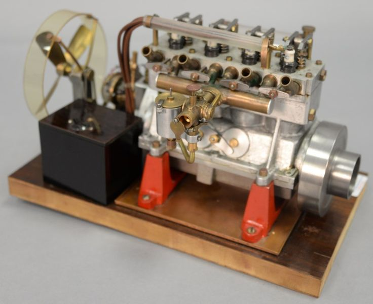 Vintage 1930's Elmer A Wall 30 cc high speed working model racing engine with blue prints ~ Realized Price $1,320.00