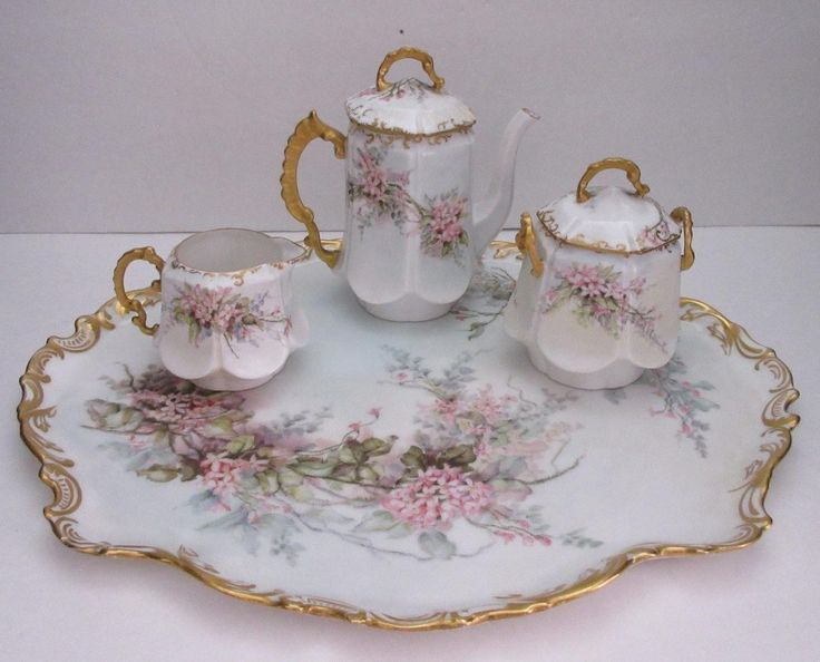 This sale is for a exquisite Bawo and Dotter (Elite Works) Limoges eight piece Tea Set for Two that is hand painted in a beautiful floral design of pink flowers with greenish-gray leaves on a white b