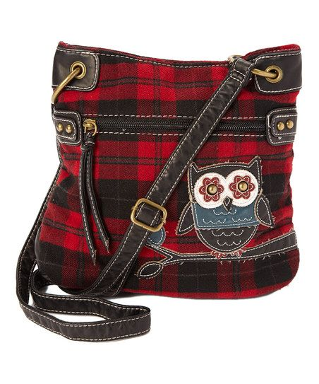 Red & Black Owl Crossbody Bag