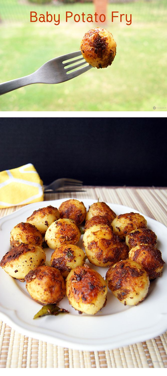 """A delicious snack / appetizer / side with everyone's favorite """"Baby Potatoes"""". It is nicely crispy on the outside with a soft inside. Spiced up with all the wonderful Indian flavors."""