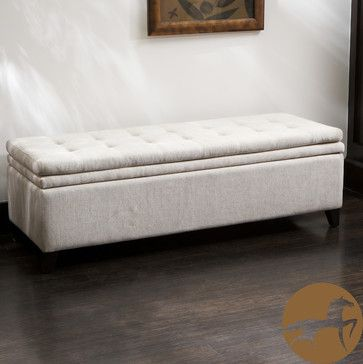 Good Christopher Knight Home Brighton White Linen Storage Ottoman Traditional  Bedroom Benches