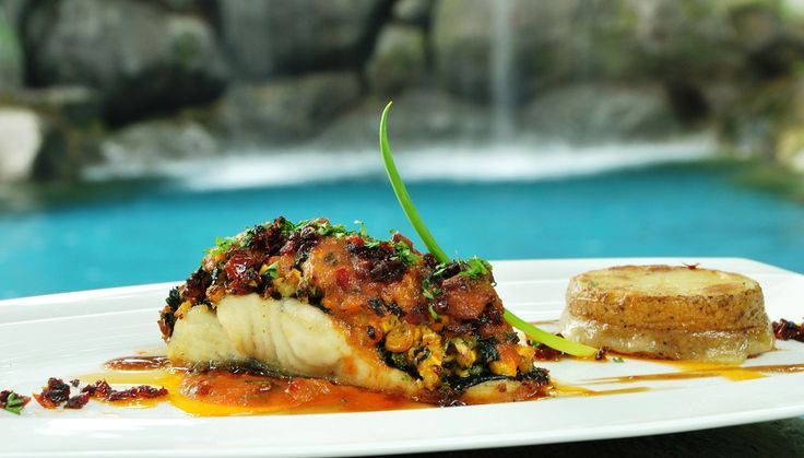 Oven-baked Australian Barramundi fish and crust sweet corn served with tantalizing teriyaki sauce and roasted potato mozzarella #HyattRegencyYogya