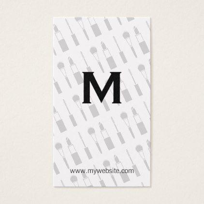 Monogram / Makeup Kit Business Card - monogram gifts unique design style monogrammed diy cyo customize