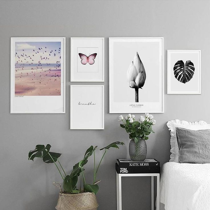 Black Leaf Lotus Red Butterfly Nordic Poster Wall Pictures For Living Room Cuadro Decoration Wall Art Canvas Painting Unframed