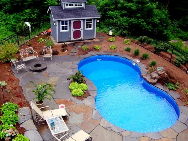 Pool Landscaping Ideas For Small Backyards swimming pool incredible small backyard pool design with fresh green water and natural stone tile ground with modern lounge chairs at every pool corner and Landscaping Ideas For Small Backyards With Pool Httpbackyardideanet