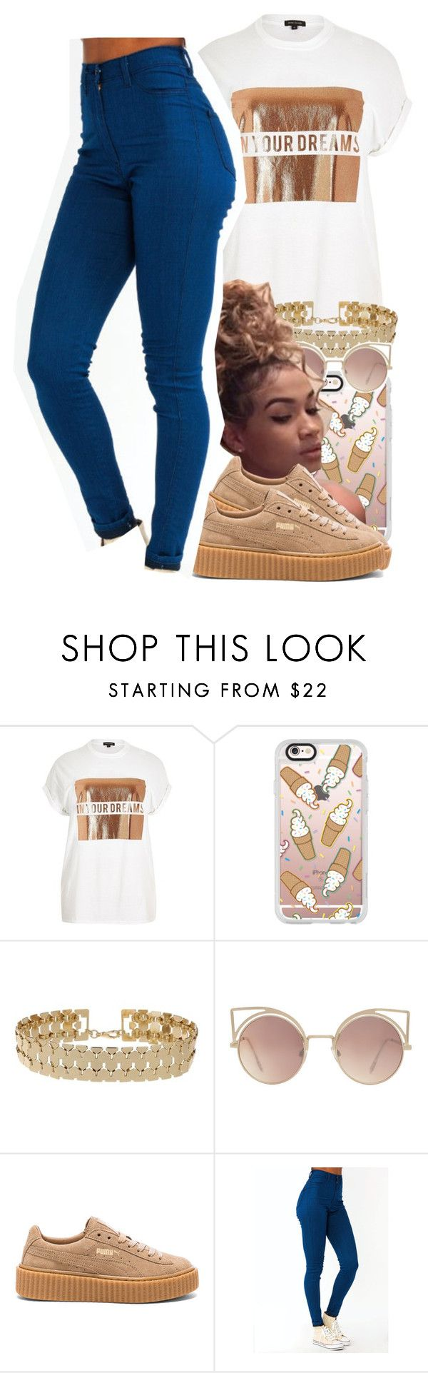 """color code: Tan "" by jchristina ❤ liked on Polyvore featuring River Island, Casetify, Miss Selfridge, MANGO and Puma"