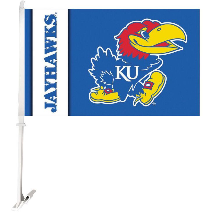 Ncaa 11 in. x 18 in. Kansas 2-Sided Car Flag with 1-1/2 ft. Plastic Flagpole (Set of 2)