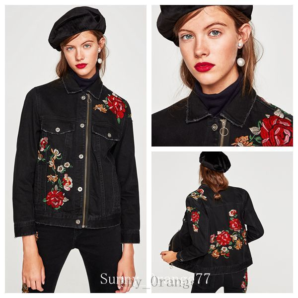 Ladies Denim Jacket Floral Embroidery Zipper Coat Jeans Outwear Denim Pants Slim