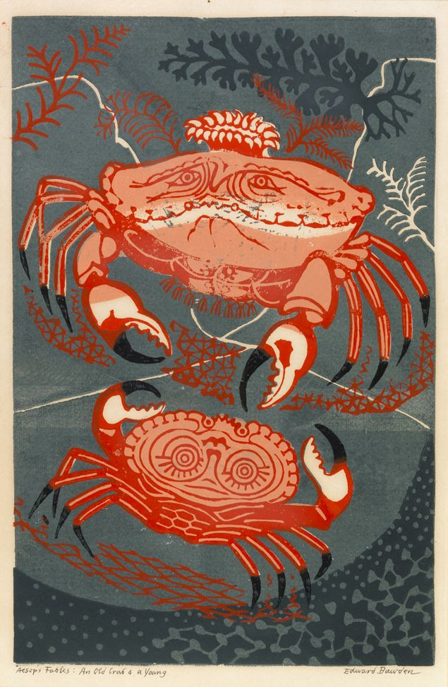 An Old Crab and a Young (linocut) by Edward Bawden
