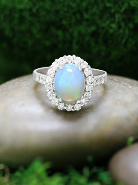 Opal and Diamond Halo Engagement <Prong> Solid 14K White Gold (14KW) Affordable Colored Stone Wedding Ring