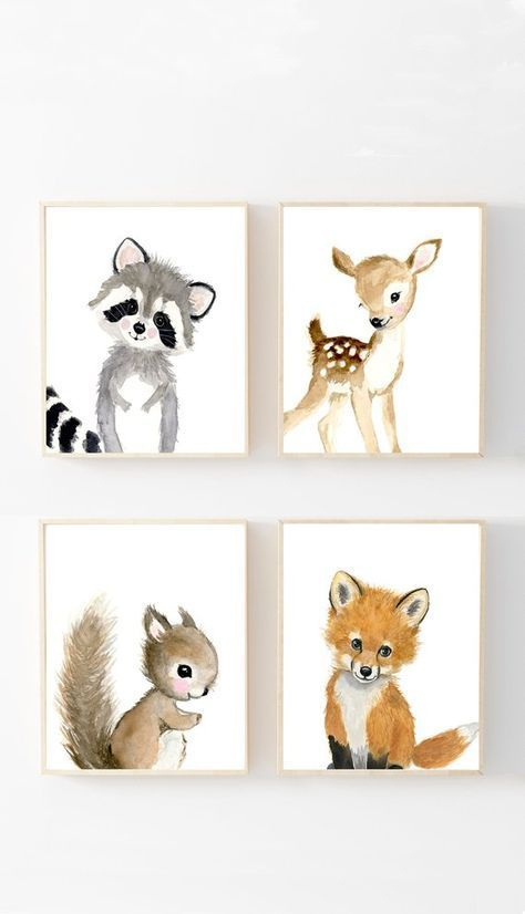 Woodland Nursery Prints Set 4, Neutral Nursery Art…
