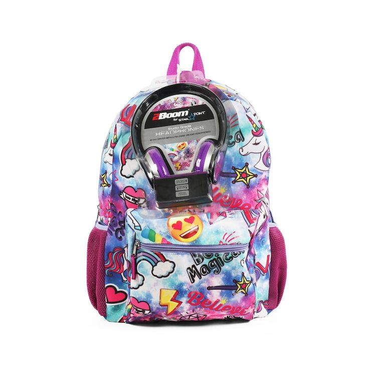 Kids Emoji Unicorn Backpack with Headphones | Backpacks ...