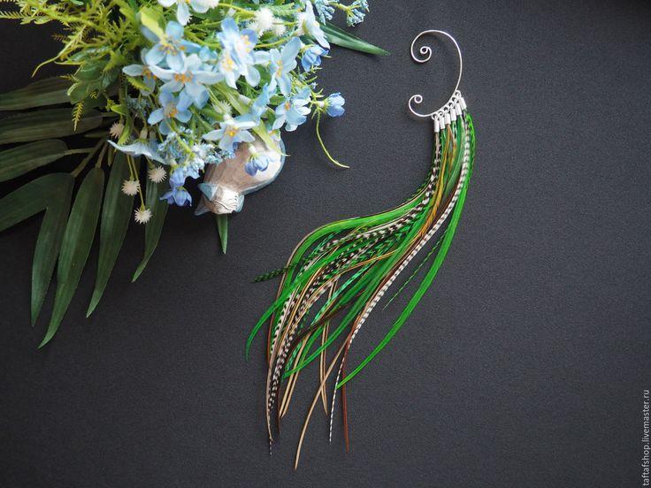 Сказочный лес - зелёный кафф с длинными перьями в стиле бохо - перья, перо