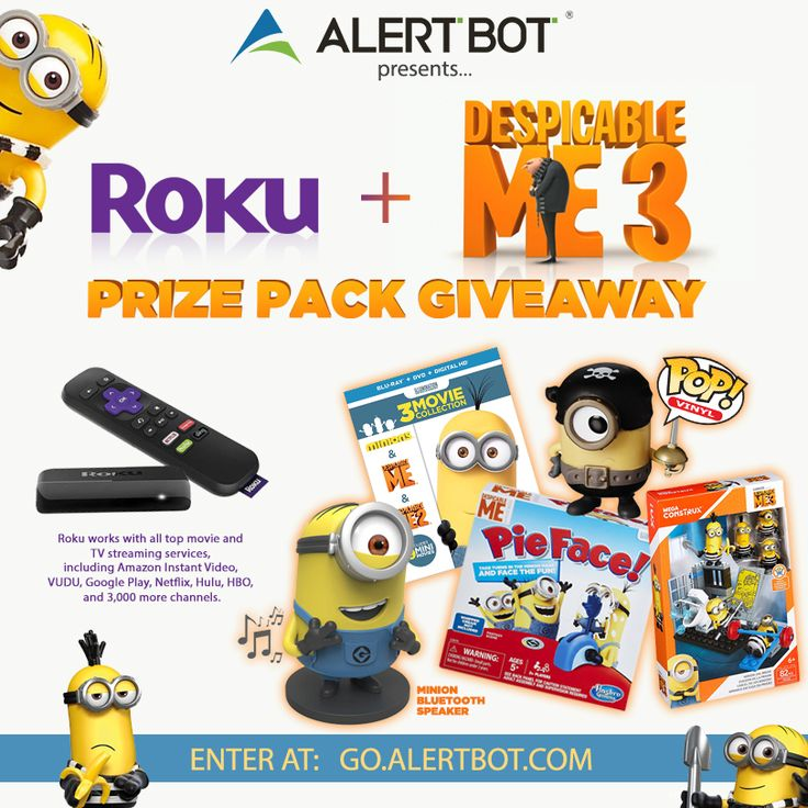 I entered @AlertBot's contest to win a @RokuPlayer + @DespicableMe Prize Pack! http://go.alertbot.com #despicableme #minions