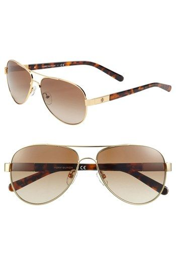 Tory Burch 57mm Metal Aviator Sunglasses available at #Nordstrom