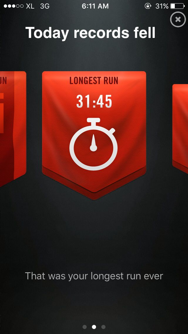 This is my first record. Of course the apps called it the longest run. Hope I can run longer than this next day.