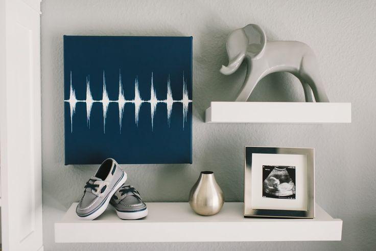 Baby heartbeat canvas | modern| grey white navy | elephant | nursery | Grayson Daniel: Nursery Tour