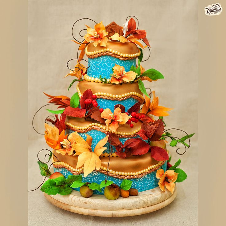 Autumn Wedding Cake by Odry Cakes: Gorgeous Autumn, Autumn Wedding Cakes, Decor Cakes, Amazing Cakes, Fall Cakes, Cakes Decor, Odri Cakes, Autumn Cakes, Blue Colors
