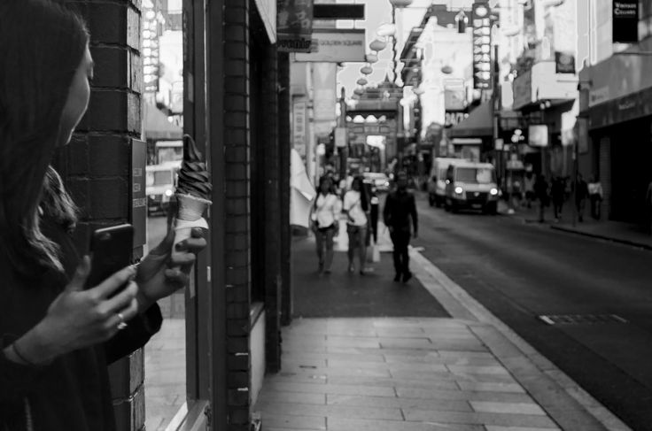 China Town, Melbourne - 03/05/2016 - Georgia Urquhart --- I was intrigued to find out how this image would turn out in black and white. And i hated it. It was really difficult to get the ice cream to an exposure so it could be seen clearly and not lost in the noise.