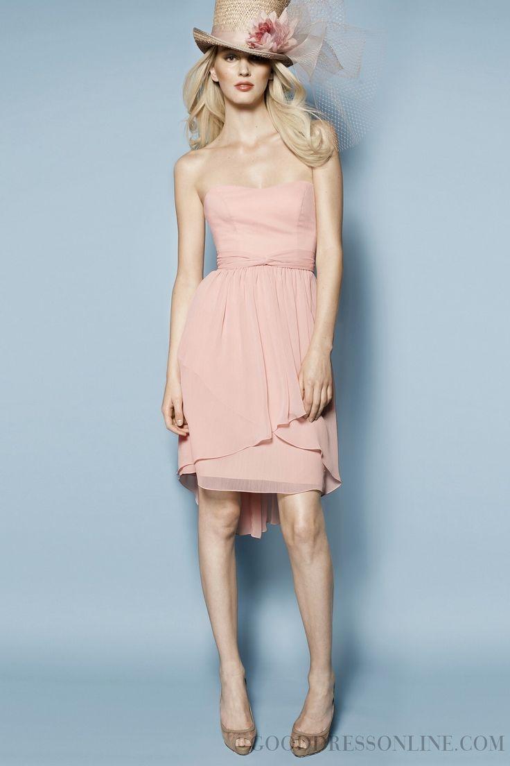 2014 Simple Sashes / Ribbons A-line Strapless Chiffon Bridesmaid Dresses
