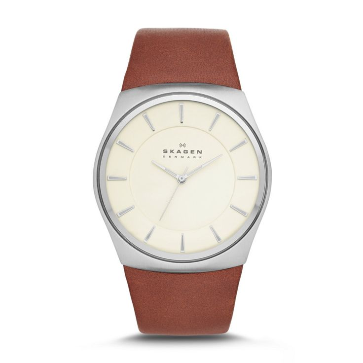 Havene Men's Three-Hand Leather Watch A sophisticated minimalist watchface with a reflective dial is paired with smooth lines to create a timeless style.